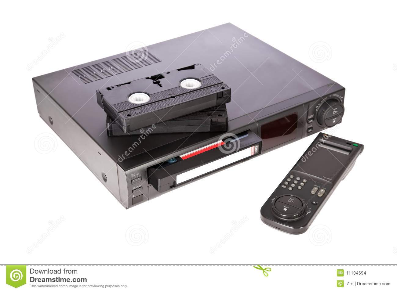 Old Video Cassette Recorder And Tapes Stock Photo