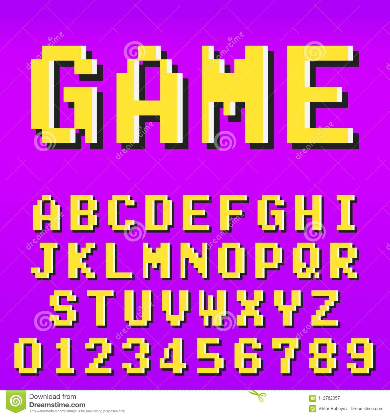 Old Pixel Video Game Alphabet Font Template Stock Vector