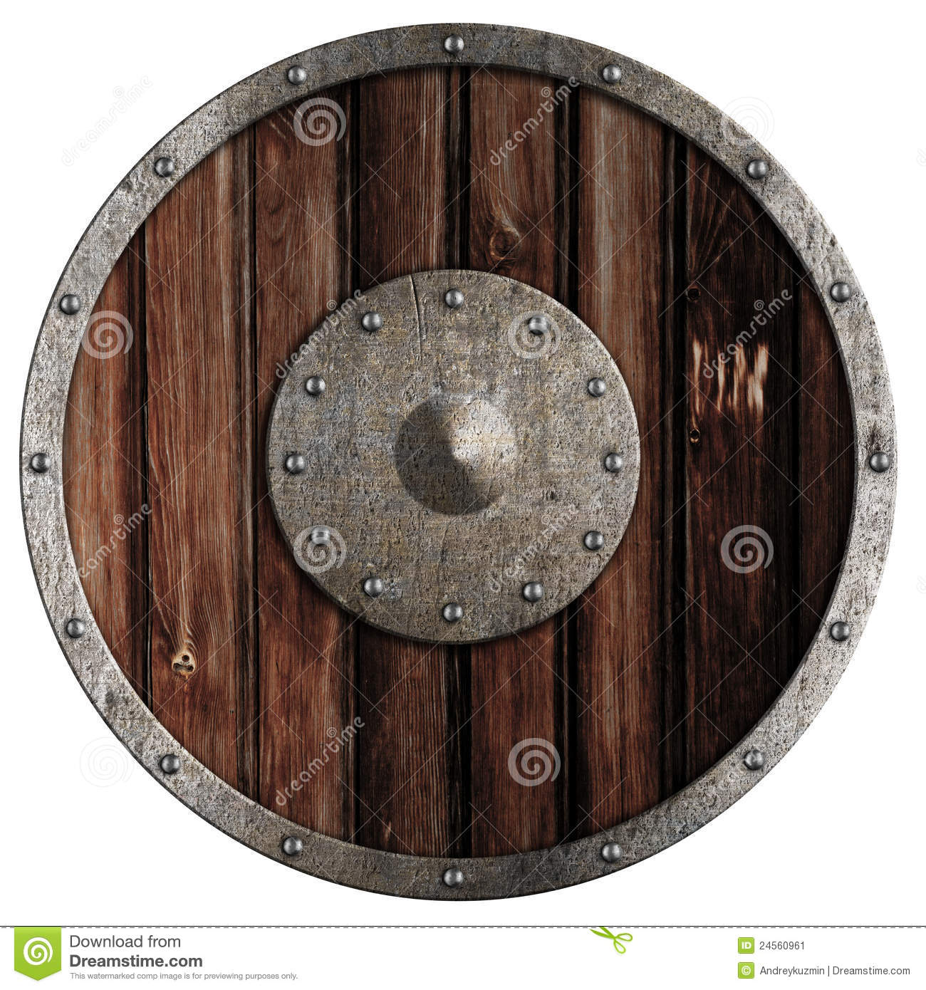 Old Viking Wooden Shield Isolated Stock Image - Image: 24560961