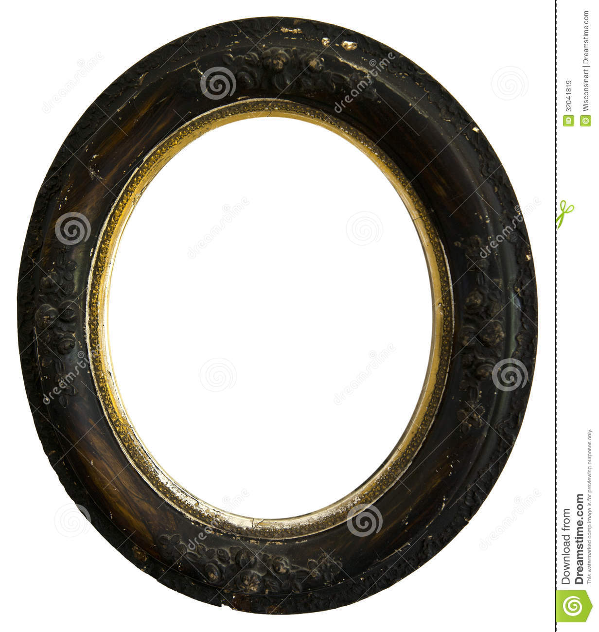 old vintage antique wood round picture frame isolated. Black Bedroom Furniture Sets. Home Design Ideas