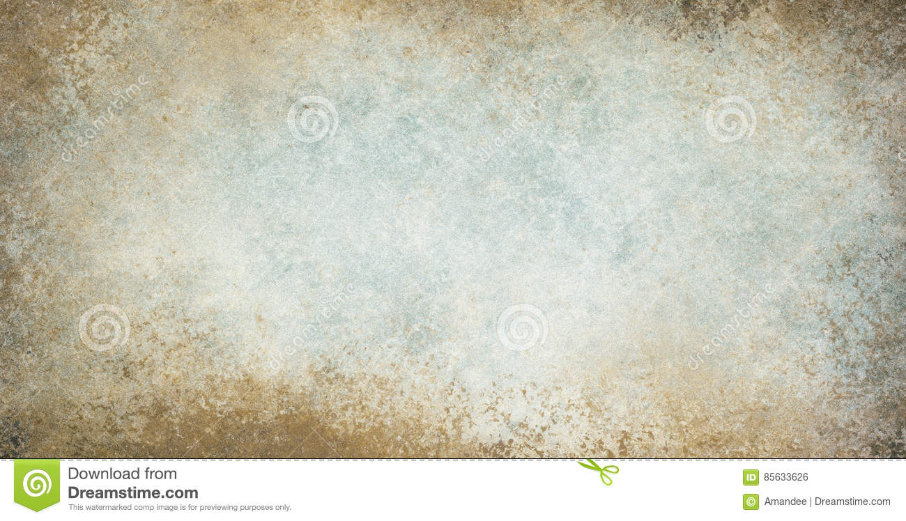 Old vintage background with grunge border texture and brown blue and white colors