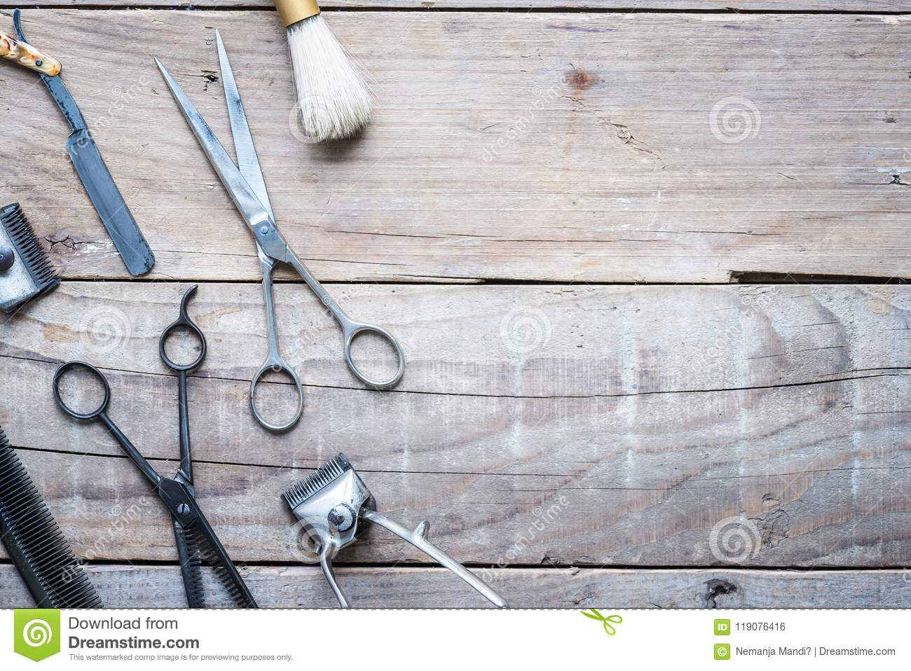 Old Vintage Barbershop Tools On Wooden Table Stock Photo - Image of ...
