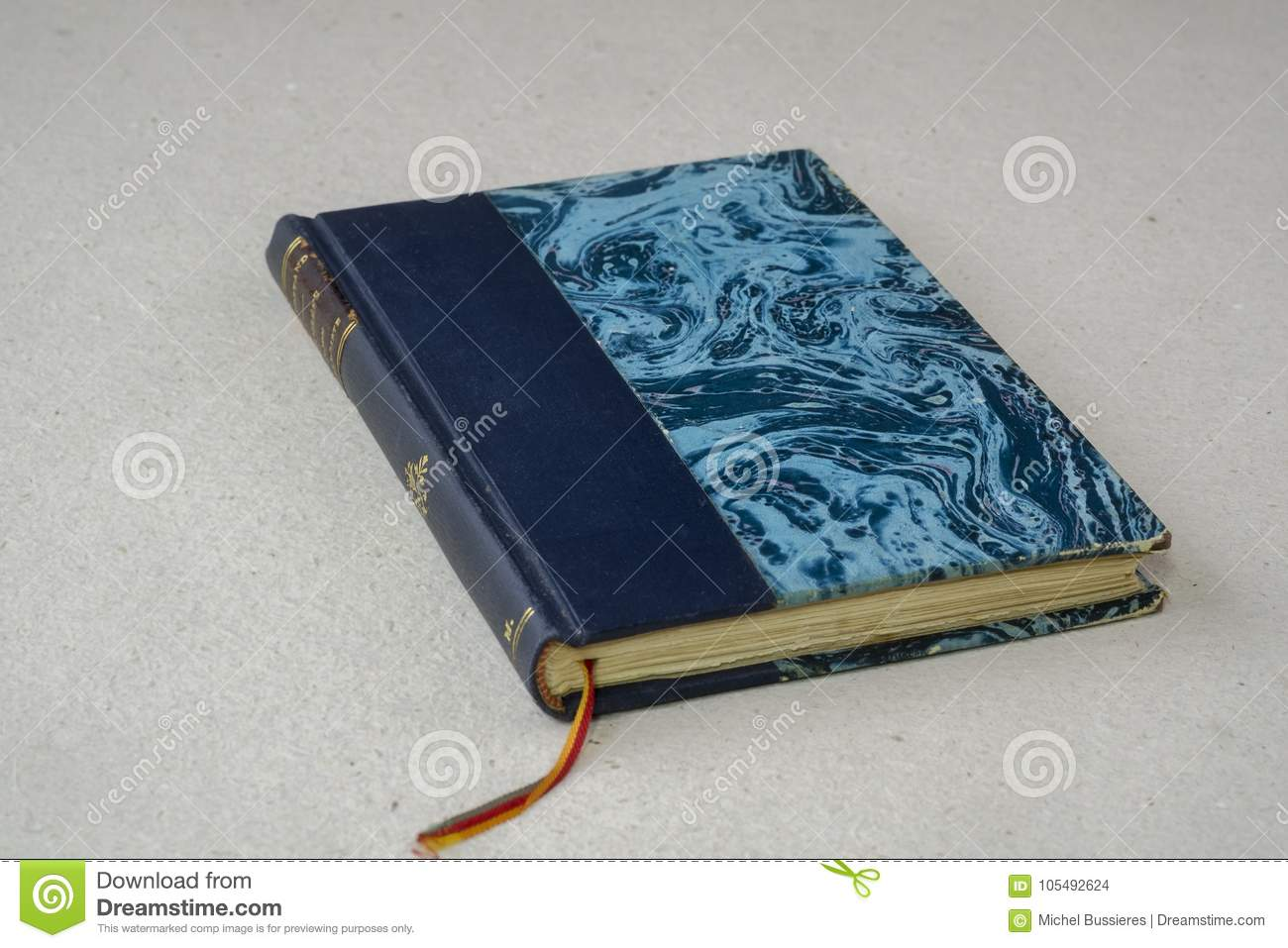 Old Vintage Blue Book With Bookmark Stock Photo - Image: 105492624