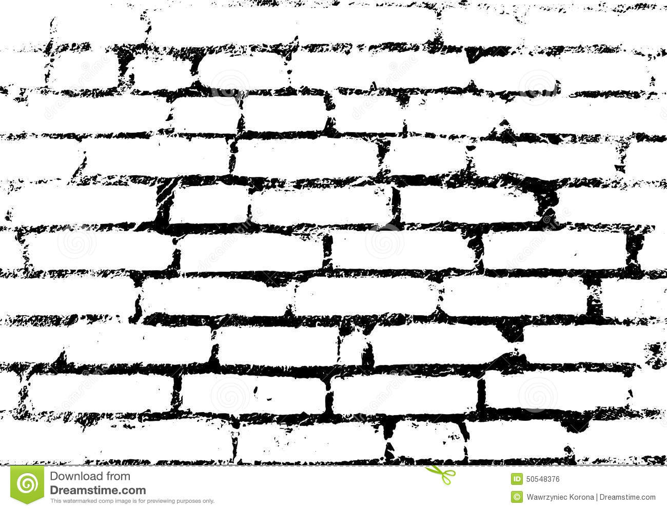 Old Vintage Brick Wall Background Pattern Black And White Vec