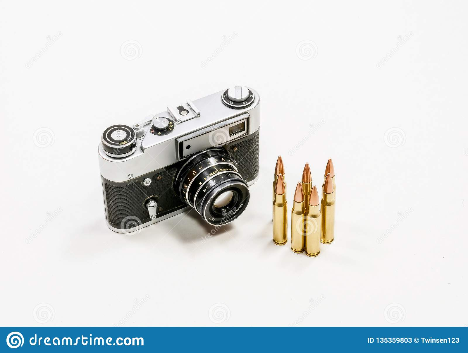 Old vintage camera and automatic cartridges