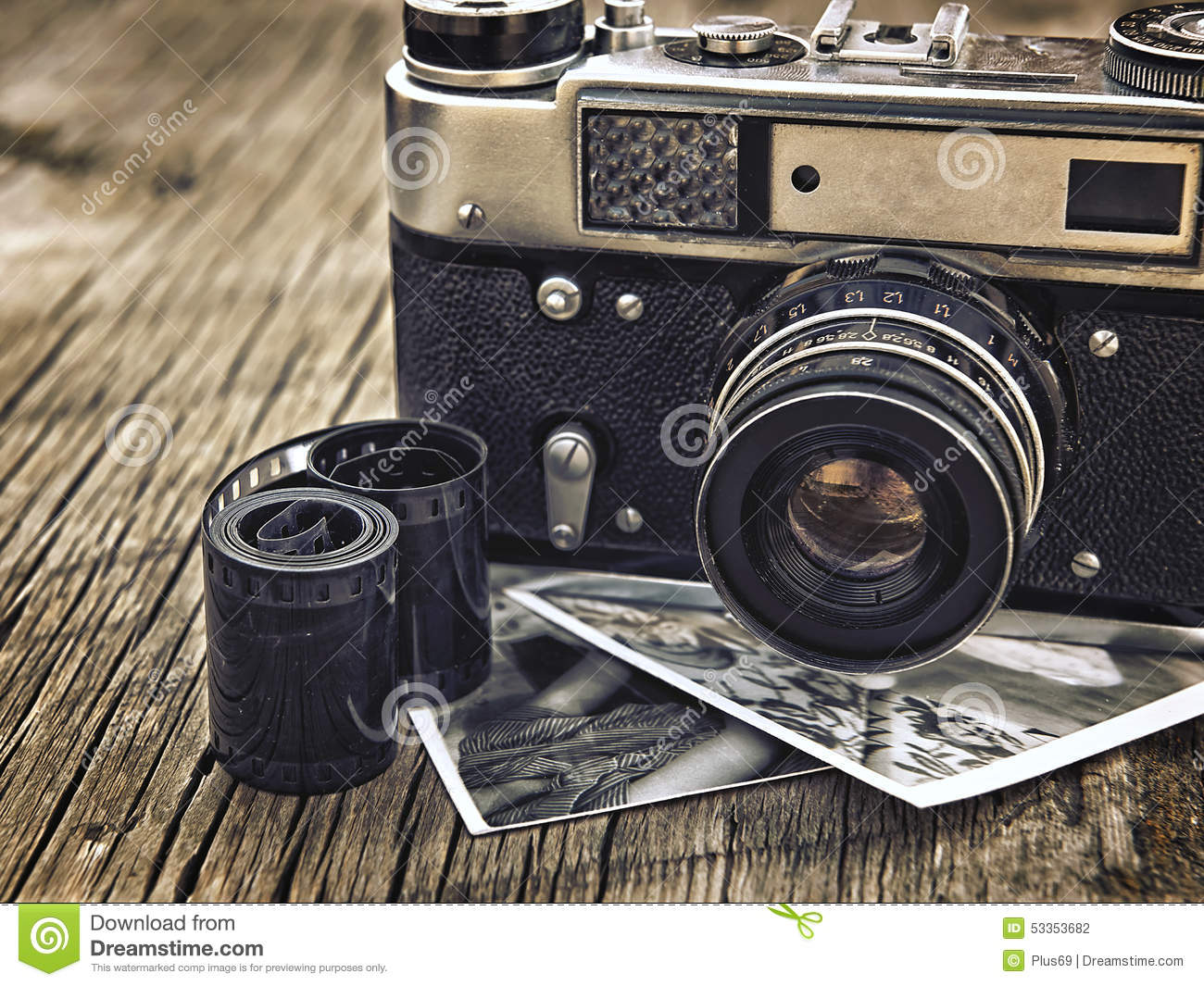 Old Vintage Camera Closeup On Wooden Background Stock