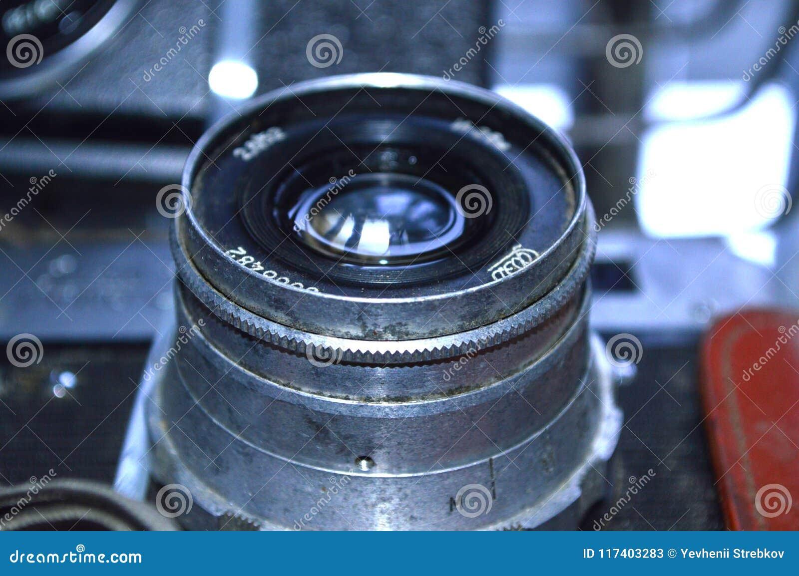 Old vintage camera lens close-up