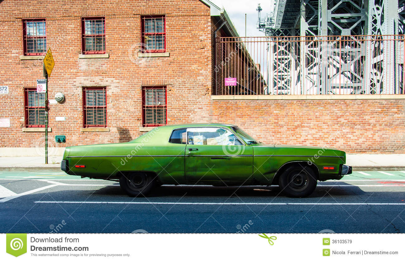 Old vintage car on a street in brooklyn new york royalty for Motor vehicle in brooklyn