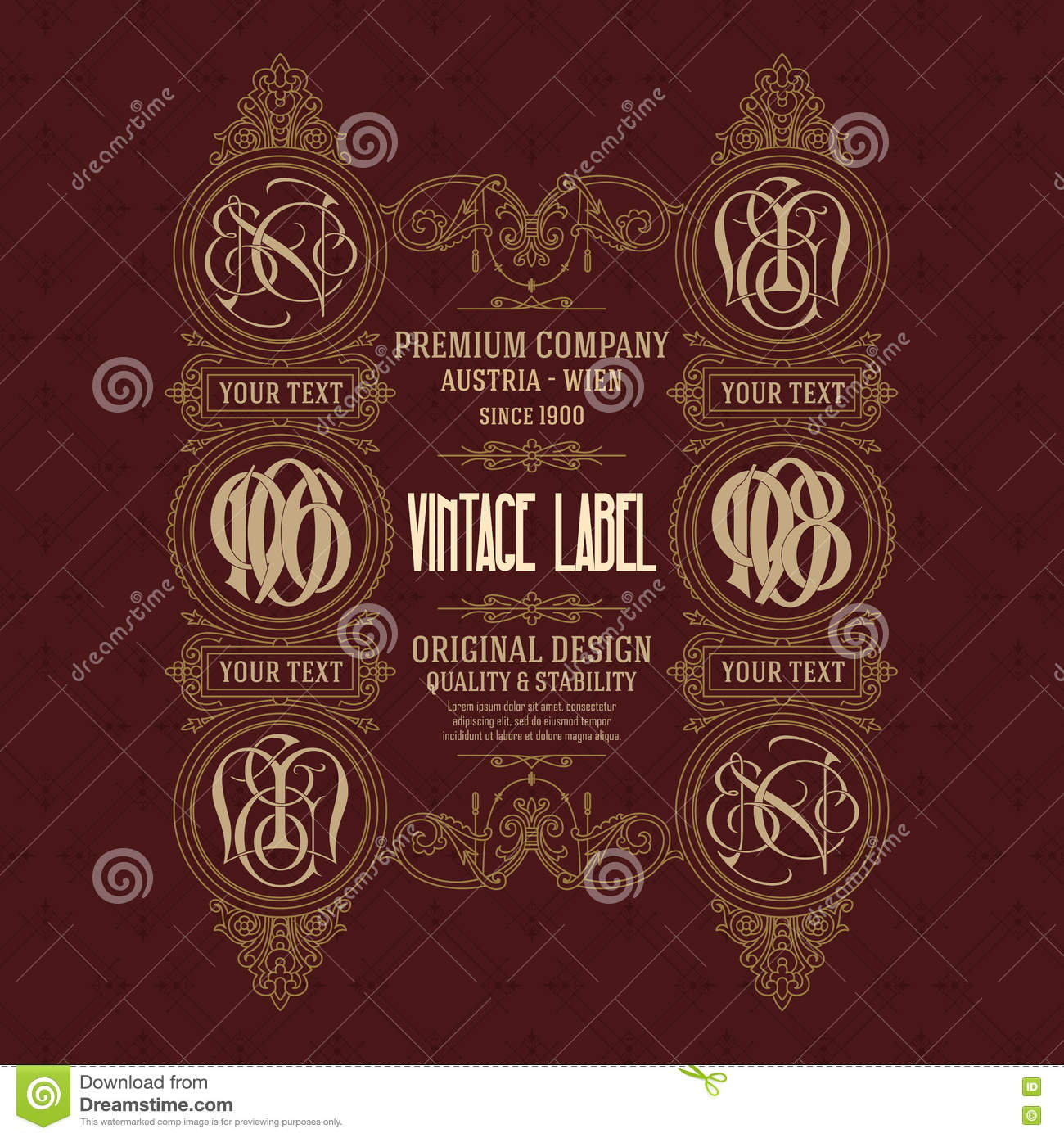 Old Vintage Card With Floral Ornament Stock Vector - Illustration of ...