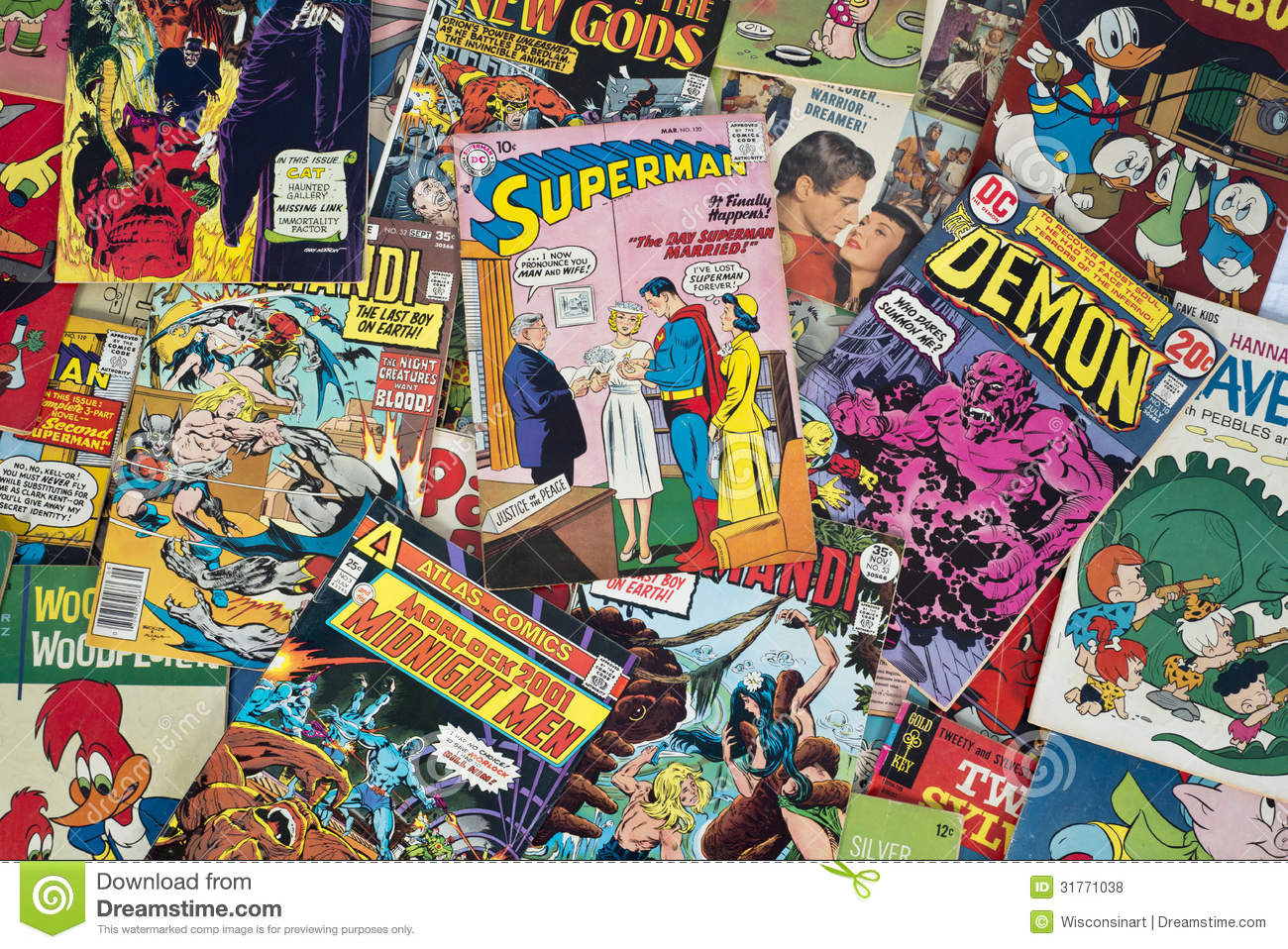 Old vintage cartoon comic books editorial stock photo for Best online gallery to sell art