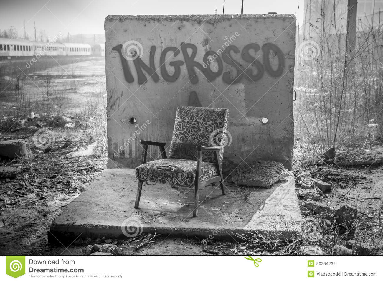 Black and white chair photography - Old Vintage Chair Over Graffiti Wall In Black And White Editorial Photography