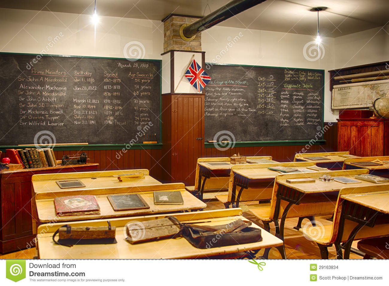 Retro Classroom Decor ~ Old vintage classroom stock images image