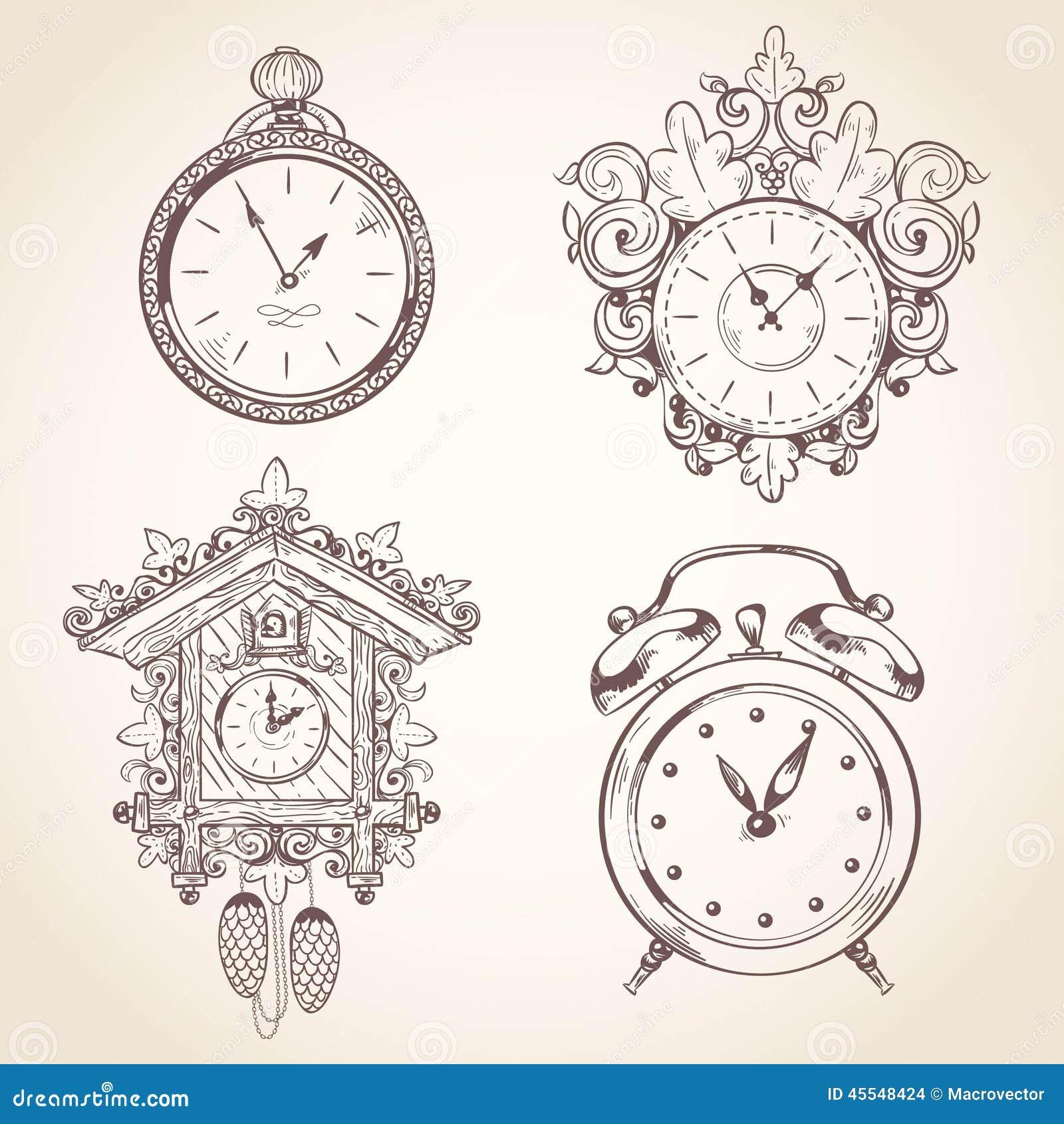 old vintage clock set stock vector image 45548424