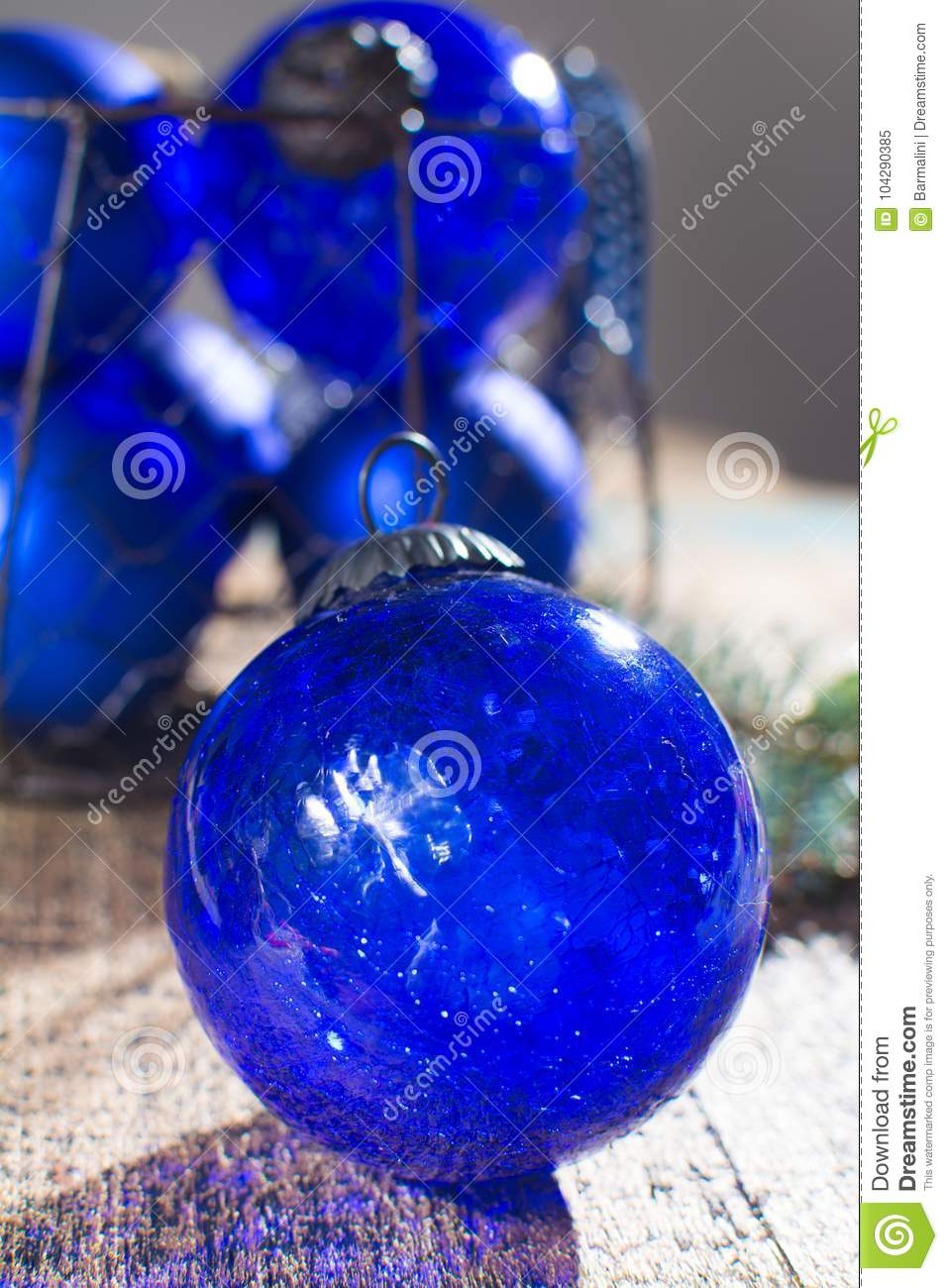 Old Vintage Cobalt Blue Christmas Tree Balls From Glass Stock Image Image Of Holiday Christmas 104290385