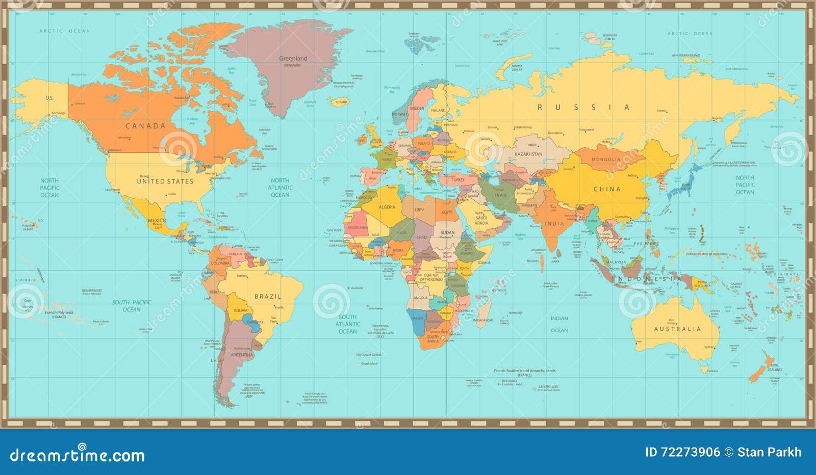 Old vintage color political world map stock vector - Papel pintado mapa del mundo ...