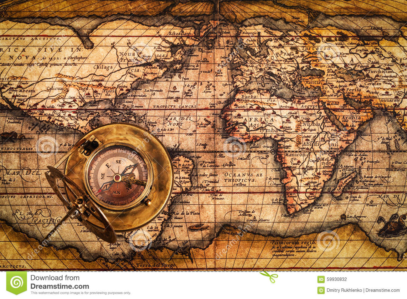 Old Vintage Compass On Ancient Map Stock Photo - Image of travel ...