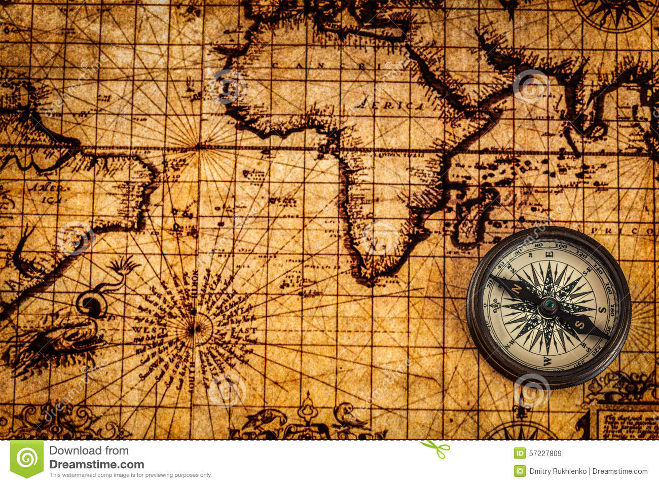 Old Vintage Compass On Ancient Map Stock Photo Image