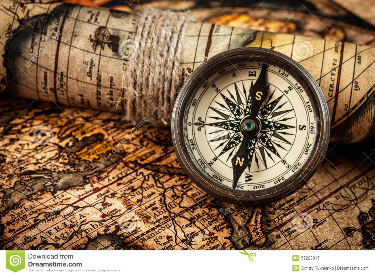 Old Vintage Compass On Ancient Map Stock Image Image Of