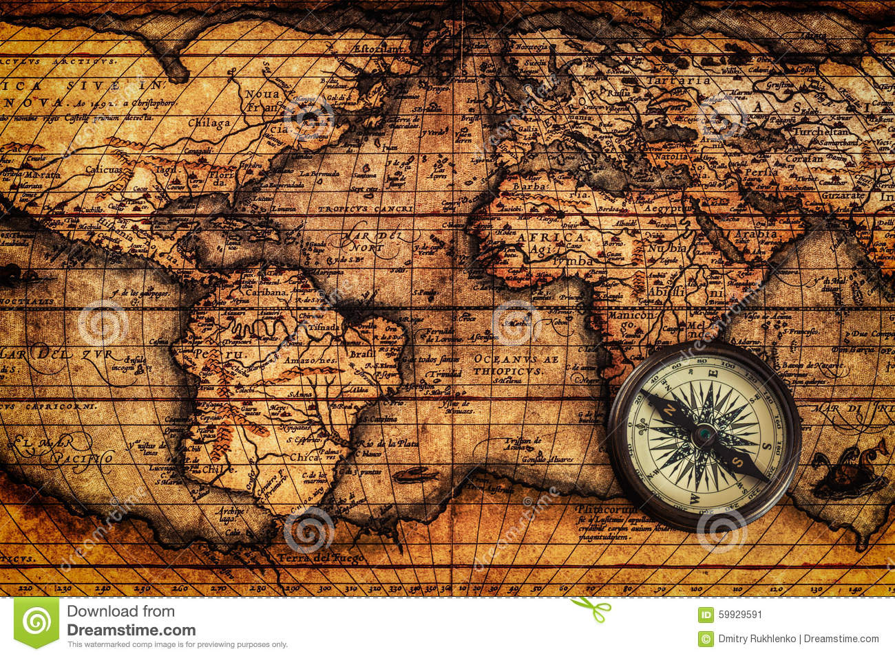 Old vintage compass on ancient map stock image image of world download comp gumiabroncs Gallery