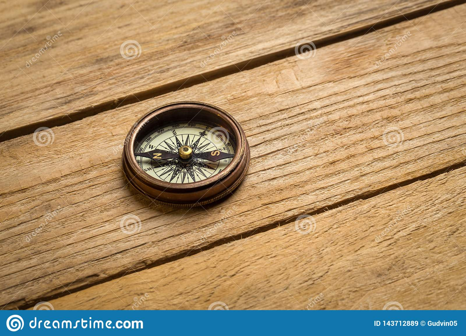 Old vintage compass on the table. Concept of travel