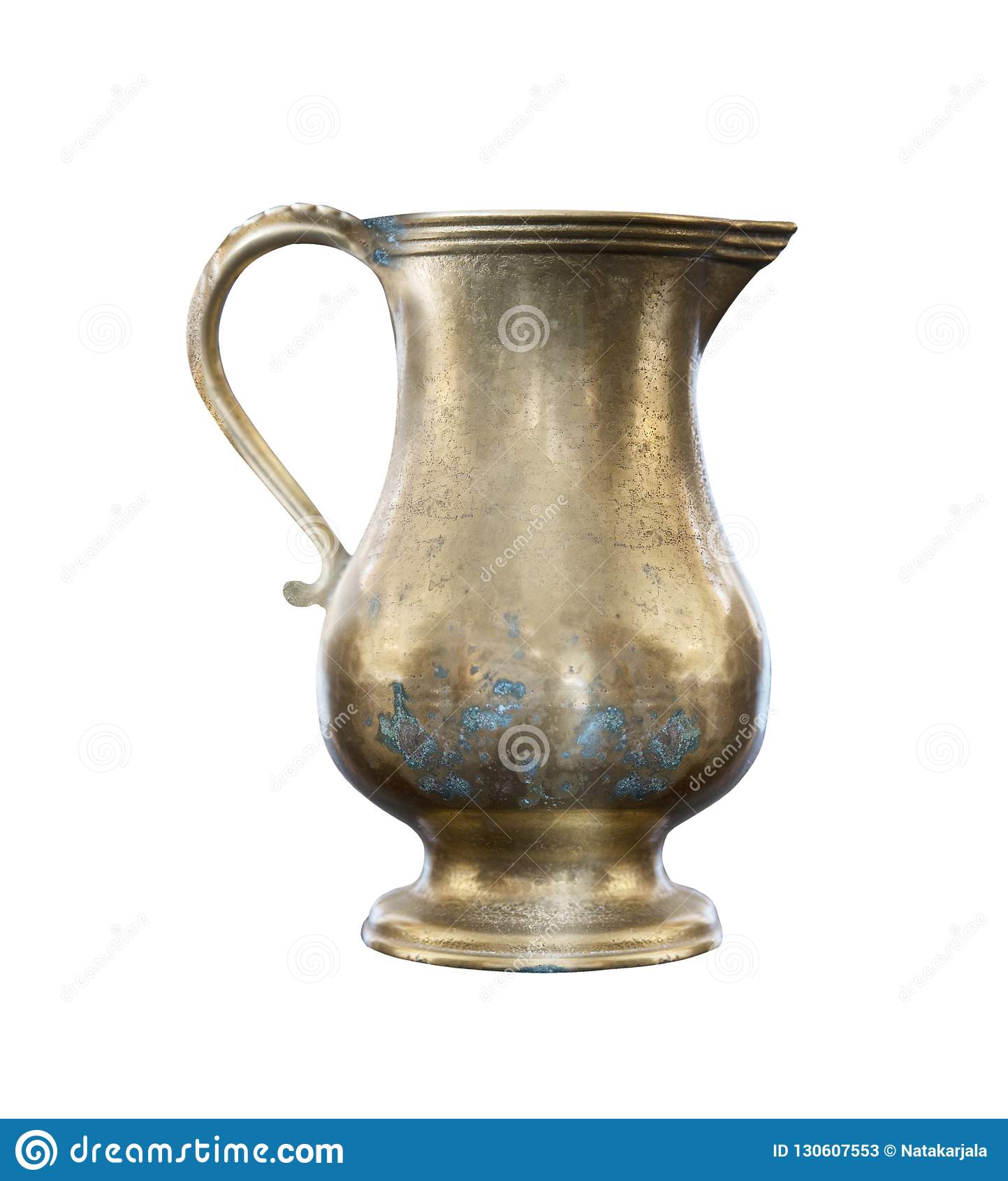 Old vintage copper jug on a white background, isolated