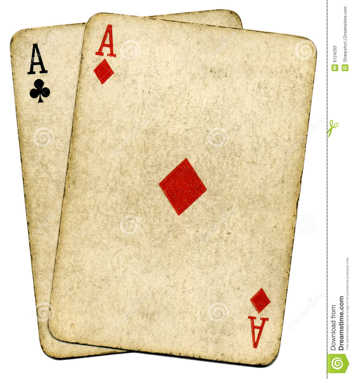 Old vintage dirty aces poker cards.
