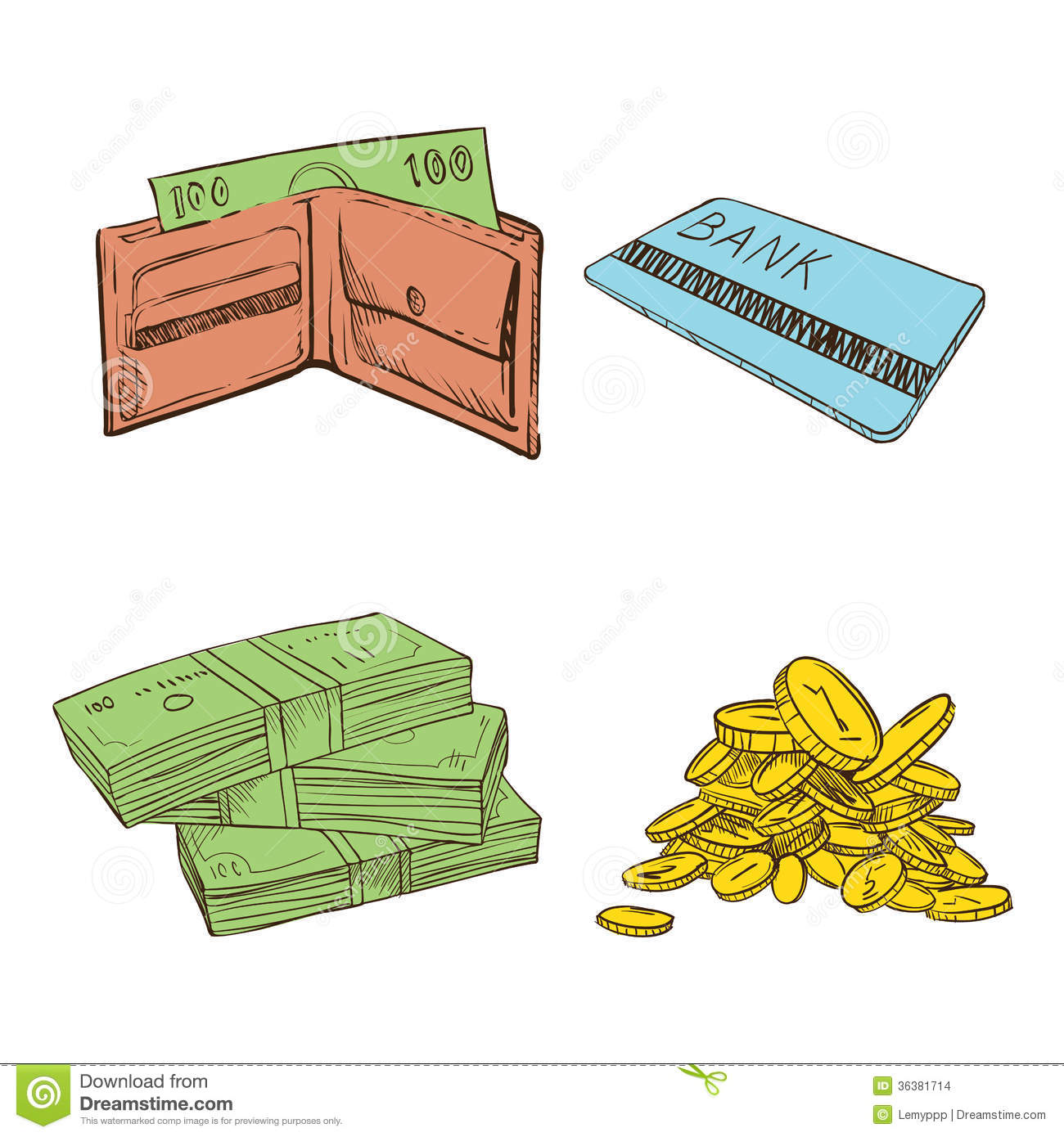 Old Vintage Drawing Sign Of Money Stock Images  Image