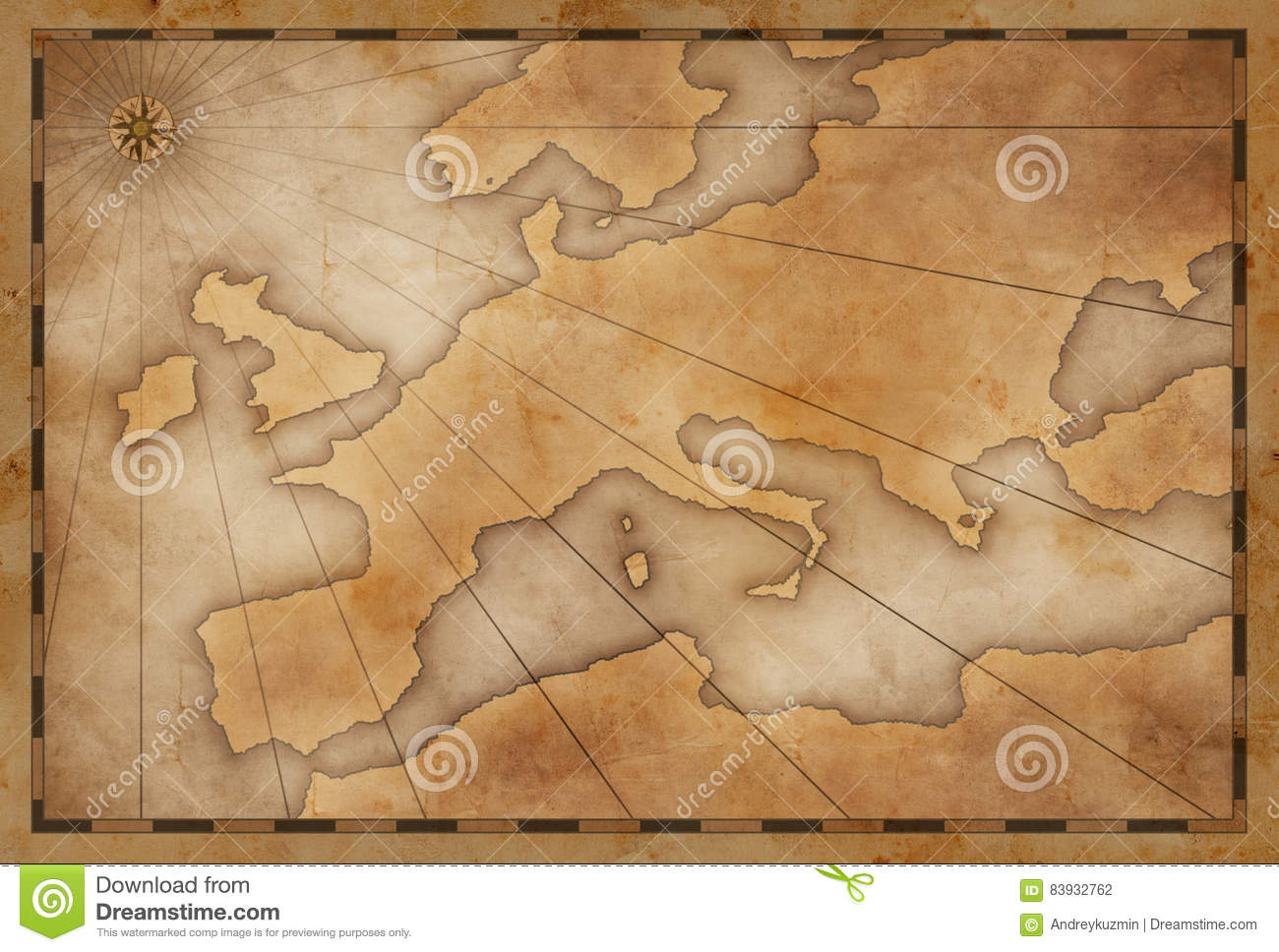 Old Vintage Europe Map Background Exploration And Adventure Stock Photography
