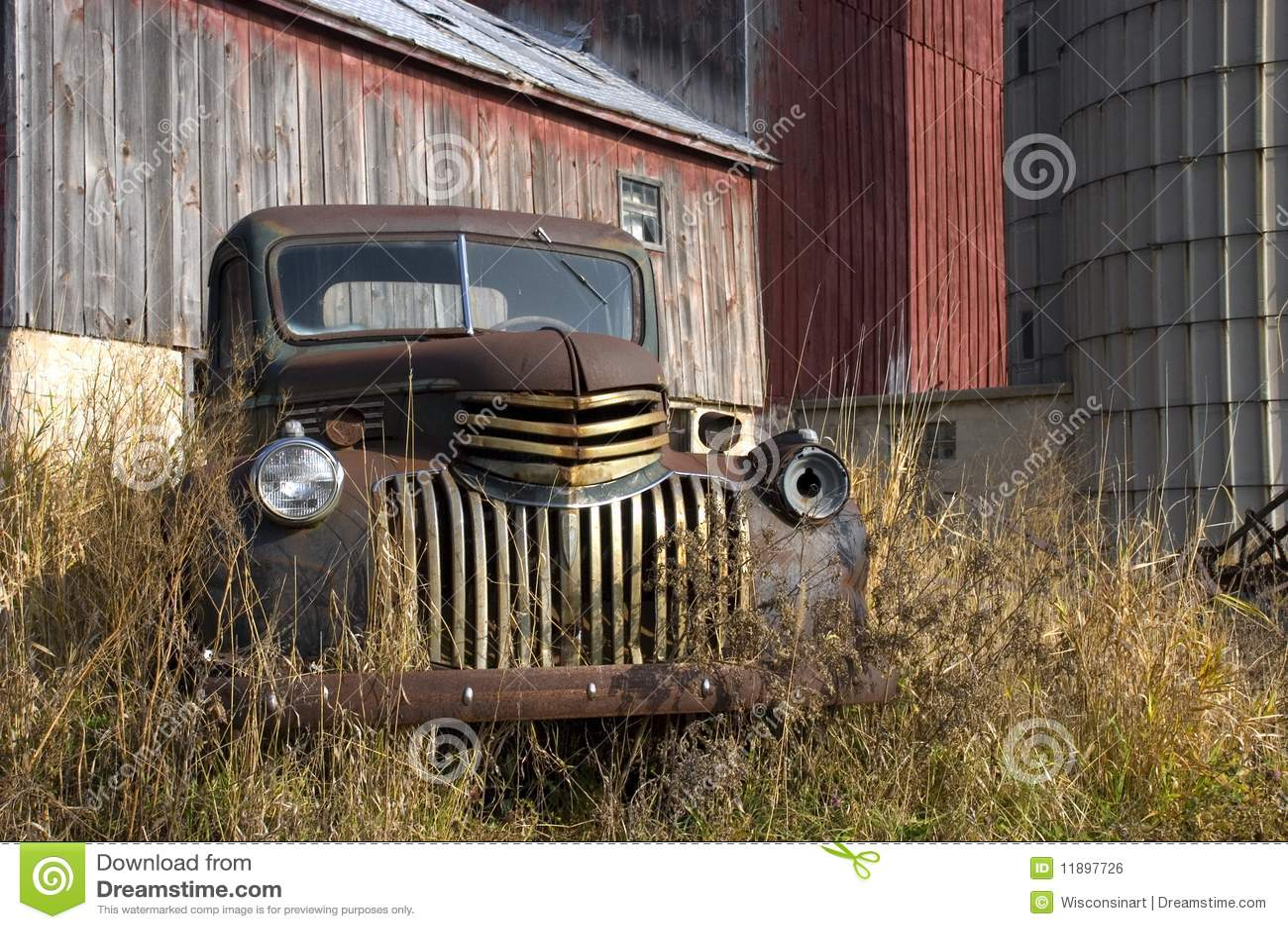 Old Vintage Farm Truck by Barn