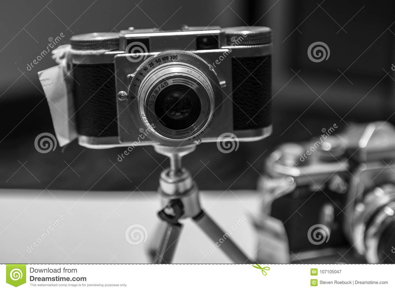Old vintage film cameras of various types and styles