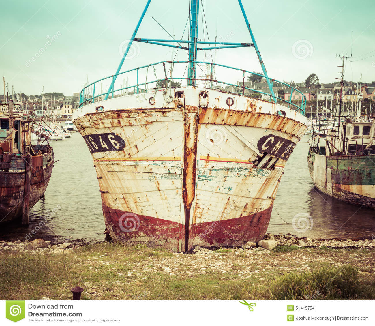 Old Fishing Boats On Beach: Old Vintage Fishing Boat Stock Photo. Image Of Fading