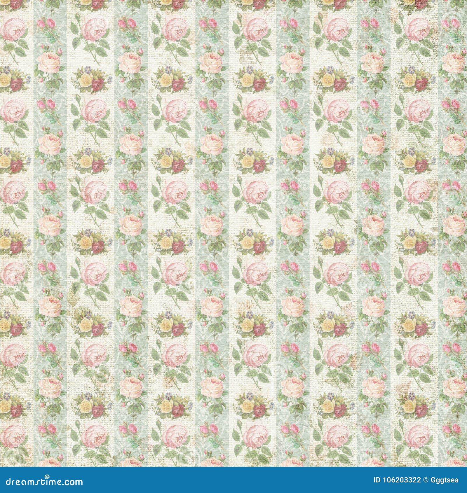 Old Vintage Flower Rose Pattern Wallpaper Paper Background Stock ...