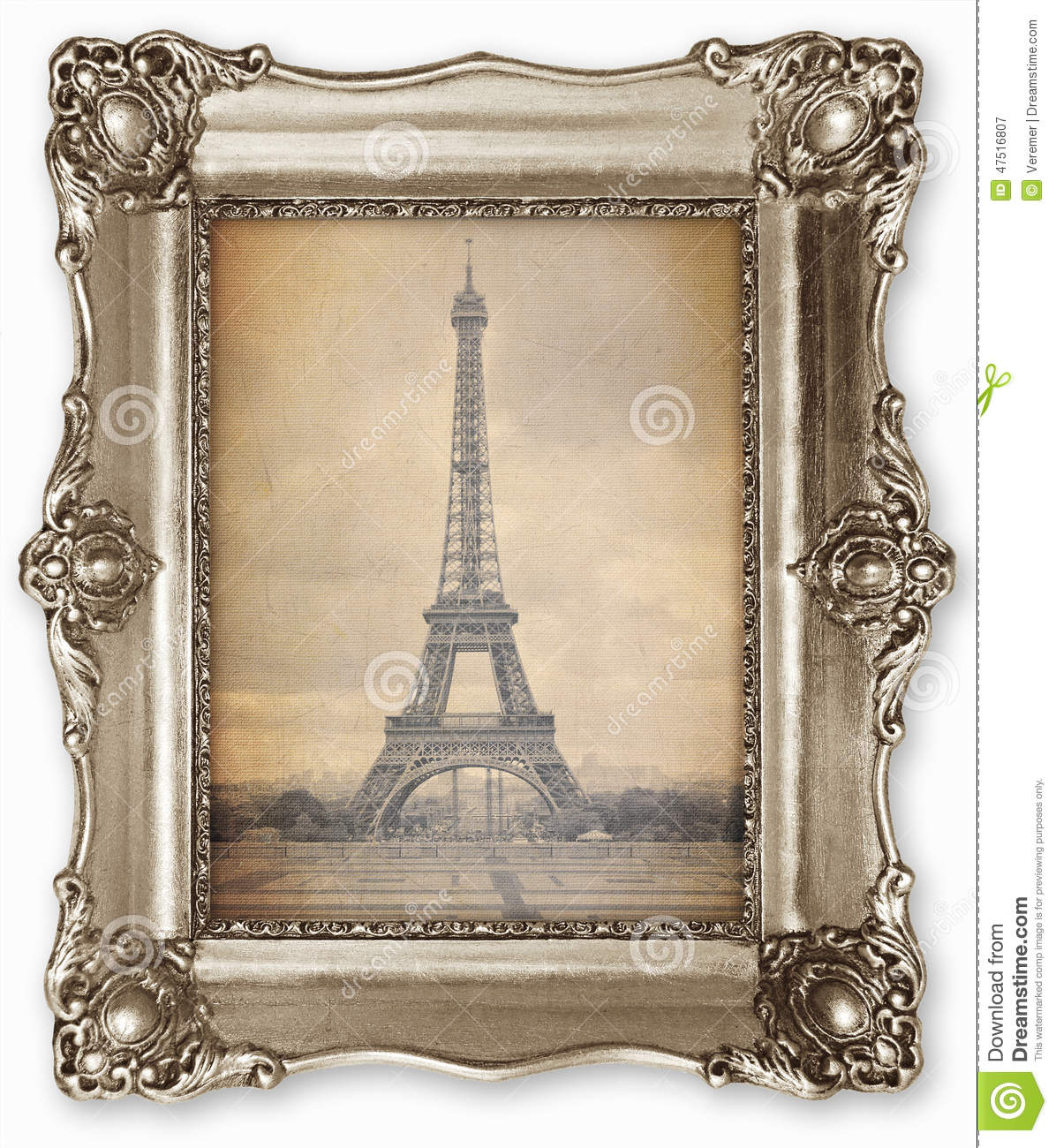 old vintage frame with stylised eiffel tower photo on canvas