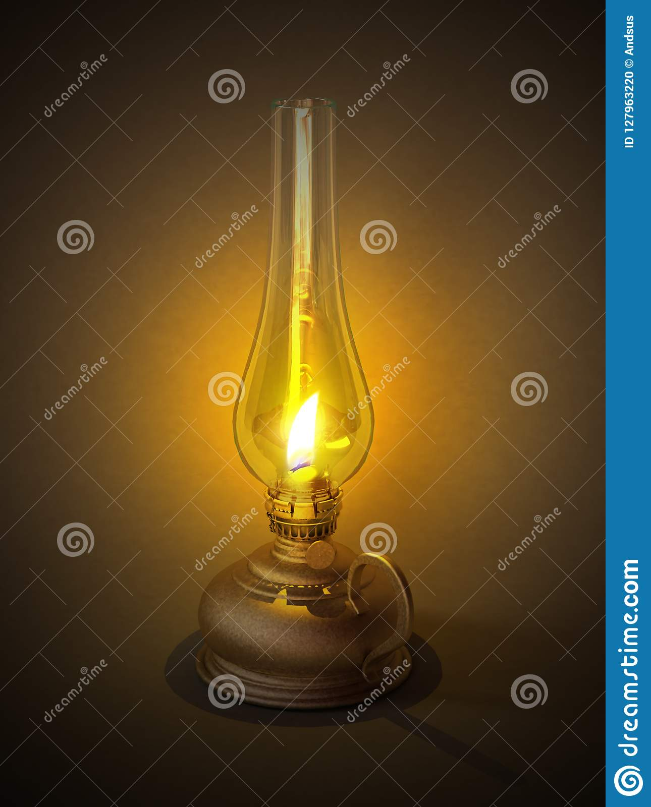 Old Vintage Gas Or Oil Lamp Or Lantern Burns Stock Photo Image Of Glass Handle 127963220