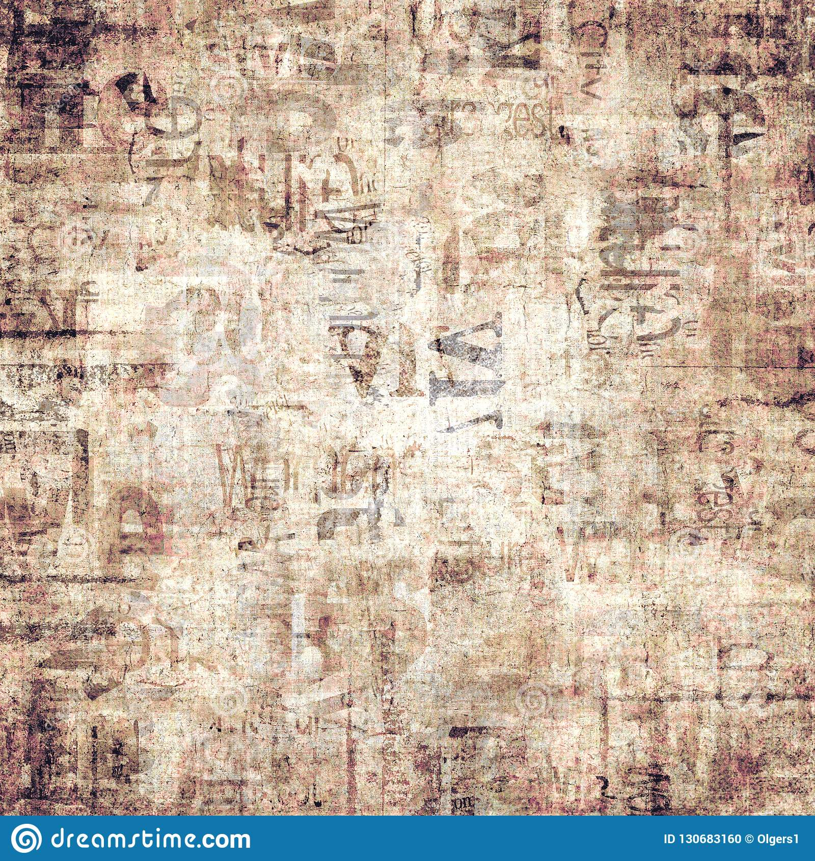 Old Vintage Grunge Newspaper Paper Texture Background Stock