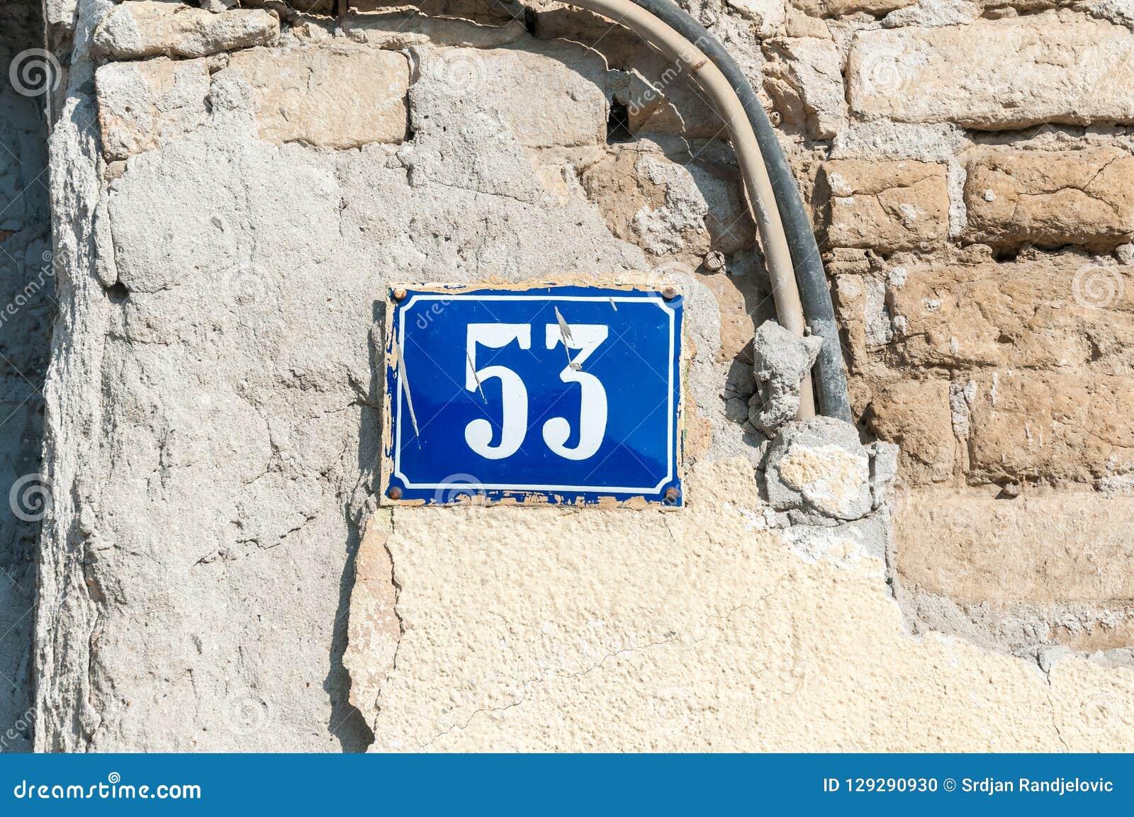 Old Vintage House Address Blue Metal Plate Number 53 Fifty