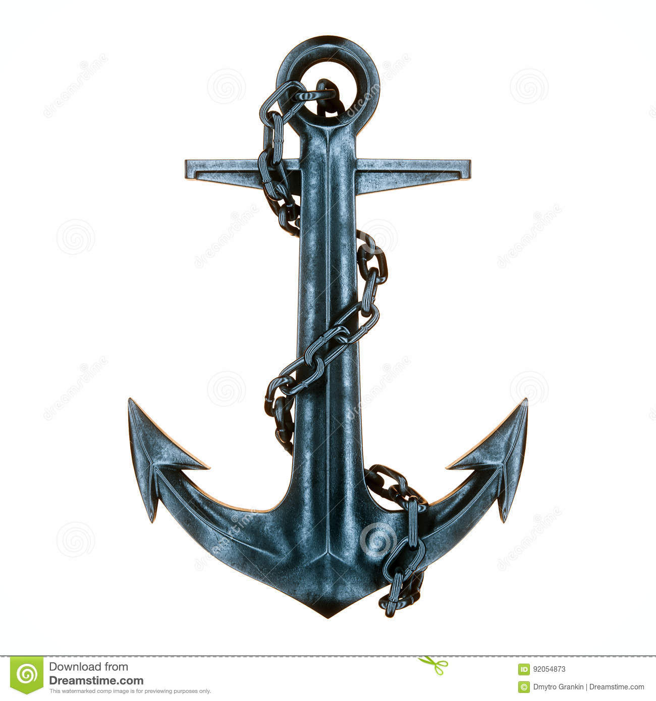 Old Vintage Iron Ship Anchor And Chain On The White