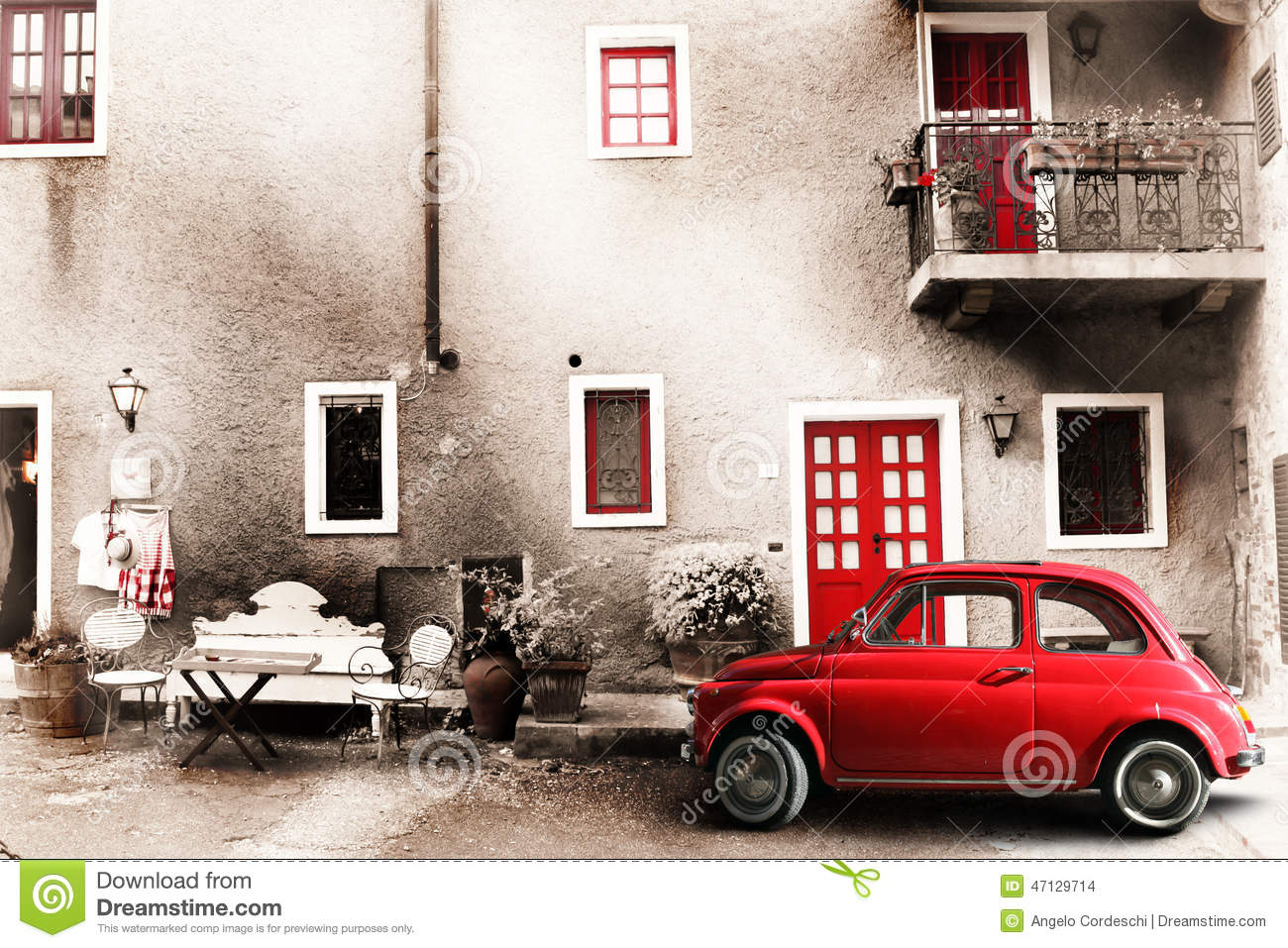 Old vintage italian scene. Small antique red car. Aging effect - Old Vintage Italian Scene. Small Antique Red Car. Aging Effect Stock