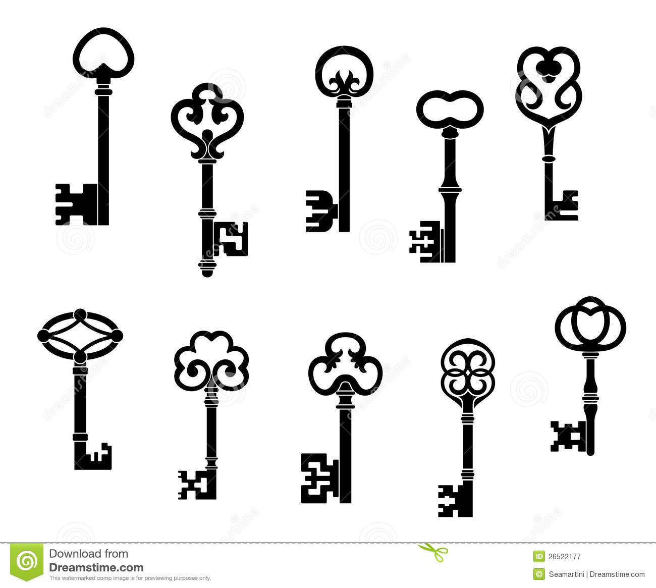 Line Drawing Key : Old and vintage keys royalty free stock photography