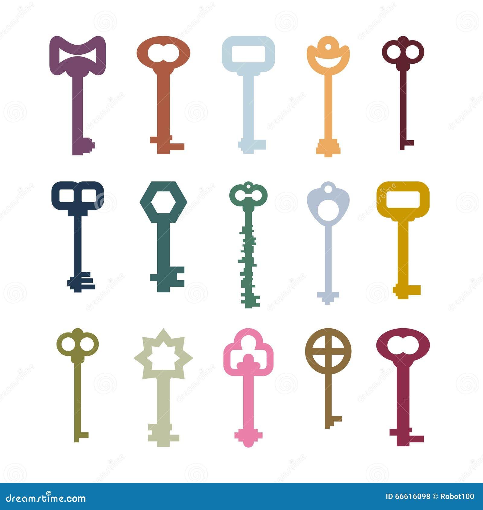 old vintage keys set. Color clues from ancient castles. Door vintage key collection