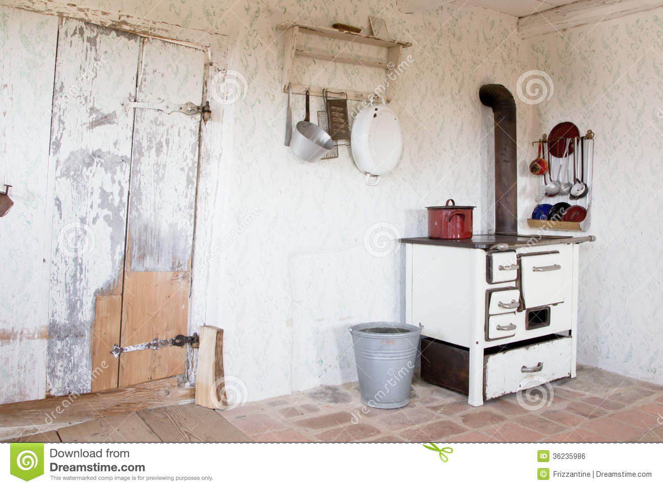 Old vintage kitchen at that time stock photo royalty for Old country style kitchen