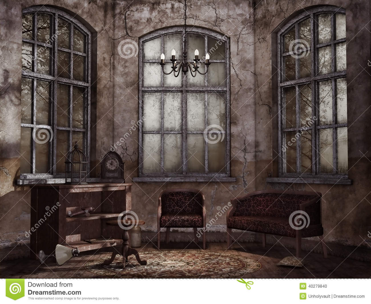 Old vintage living room stock illustration. Image of dark - 40279840
