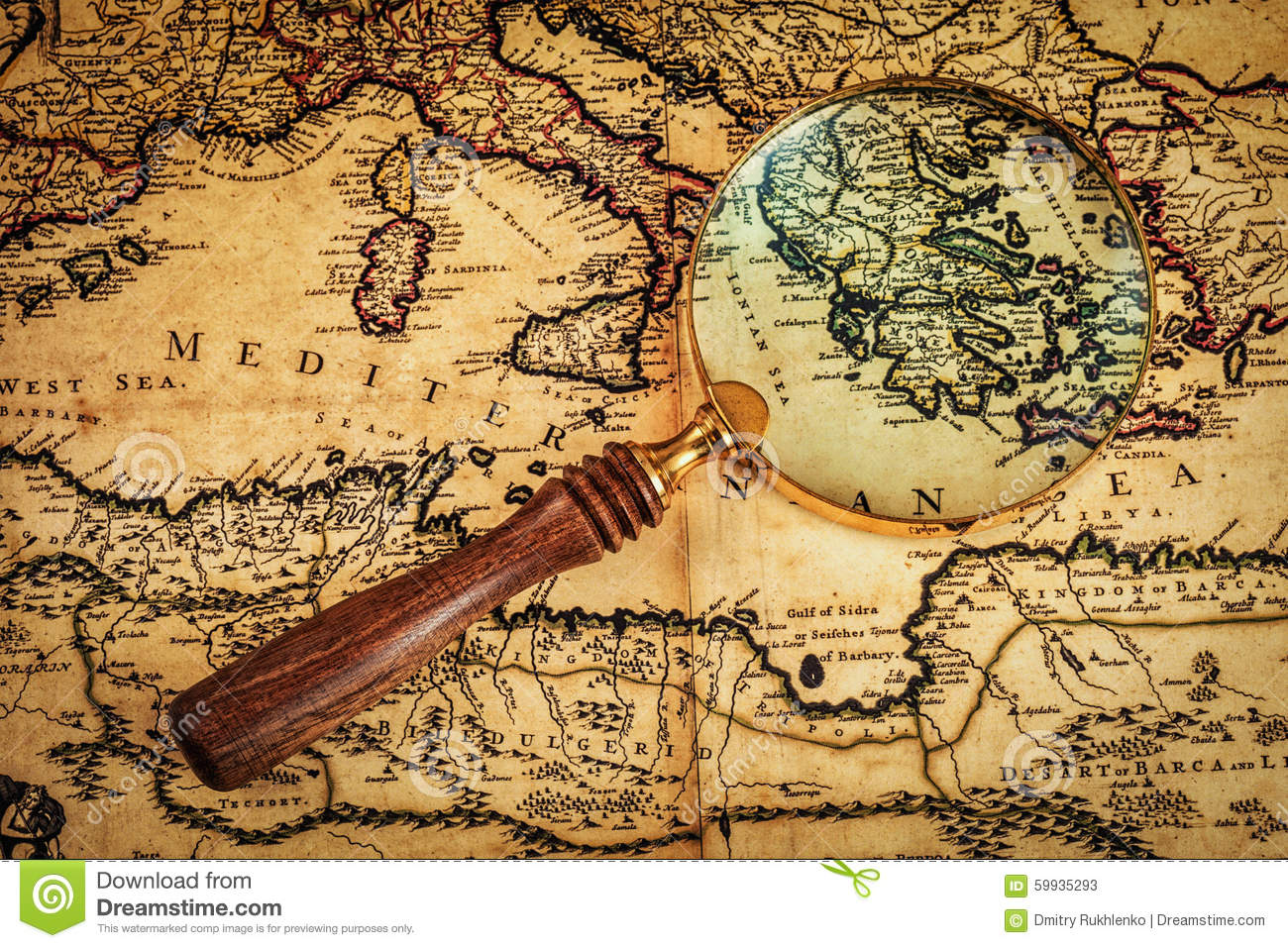Old Vintage Magnifying Glass On Ancient Map Stock Image - Image of ...
