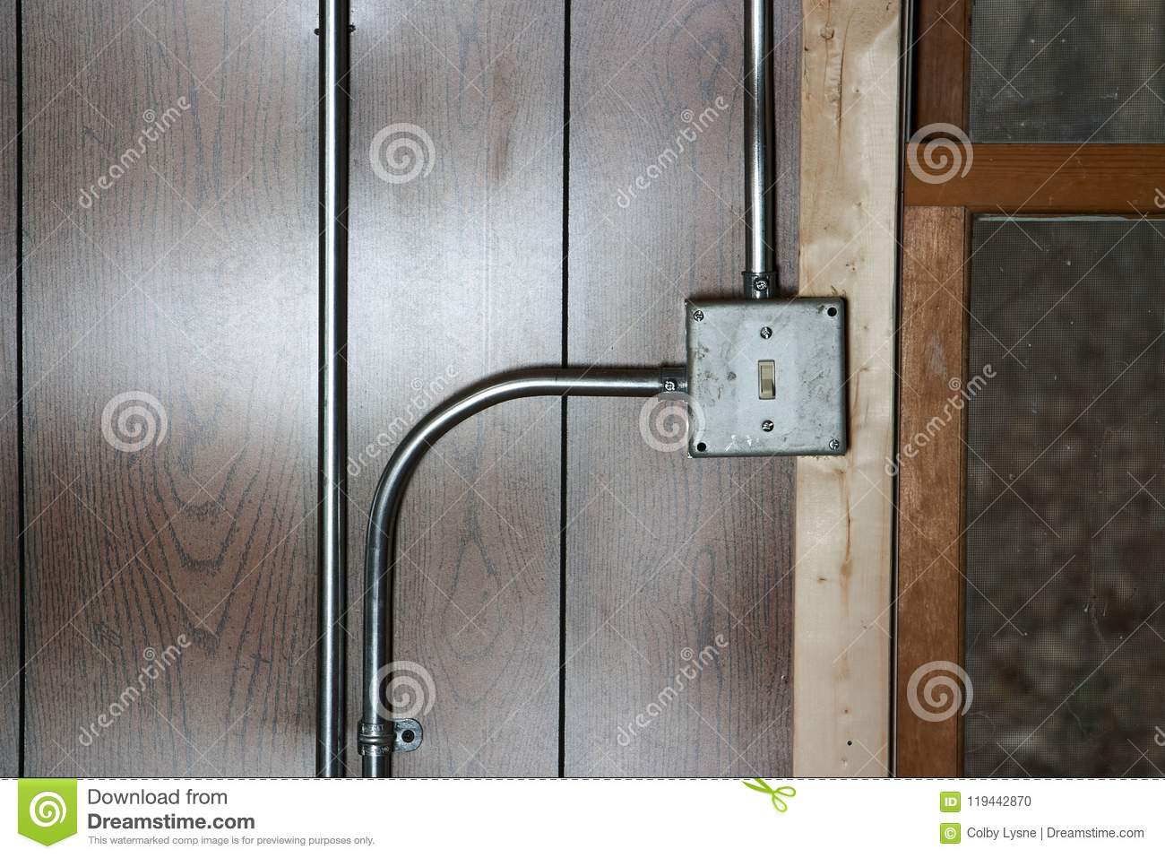 Old Wiring Conduit Diagram Schema Img A Junction Box Vintage Metal Electricity Switch Stock Photo Auto