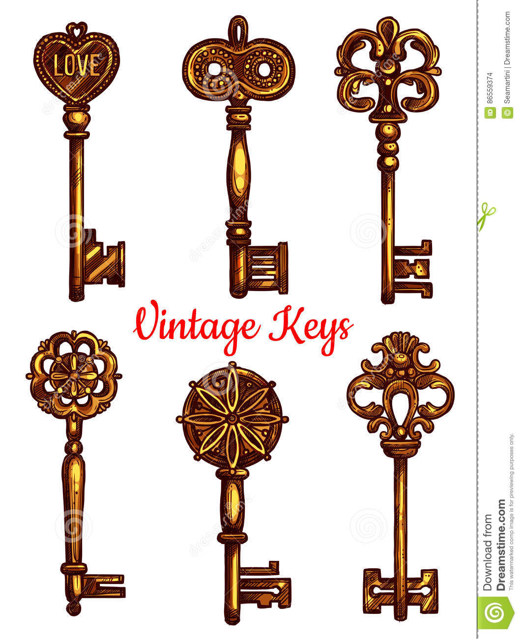 Old Vintage Metal Keys Vector Isolated Icons Set Stock