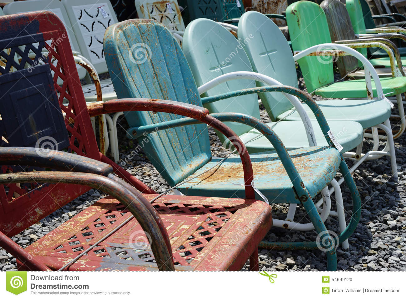 Old Vintage Metal Lawn Chairs Stock Photo Image 54649120