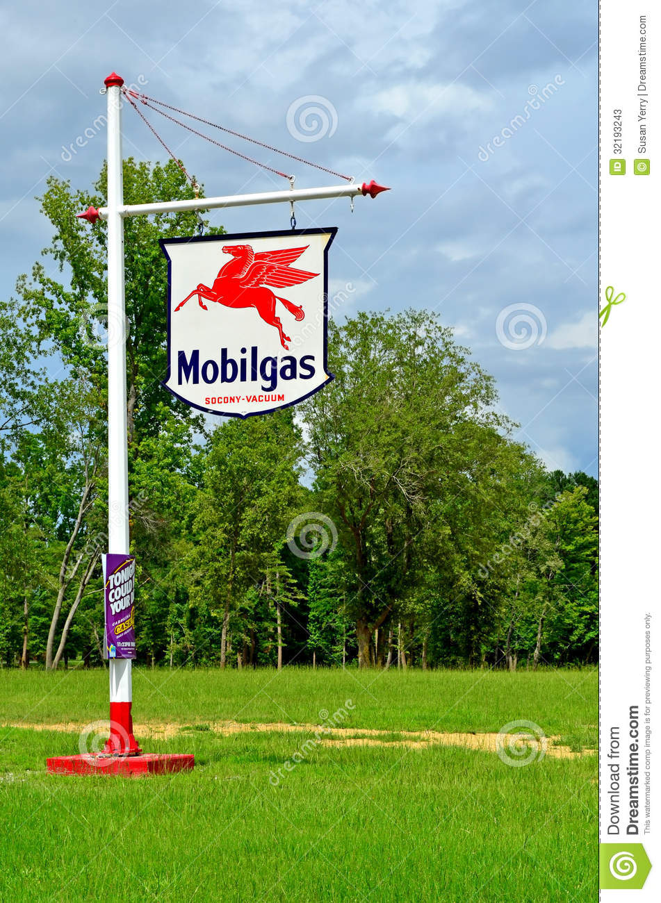 editorial stock photo download old vintage mobilgas station sign