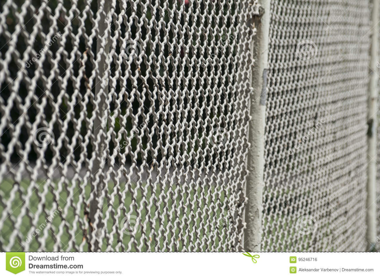 Old Vintage Painted Metal Fence Mesh Stock Photo - Image of angle ...