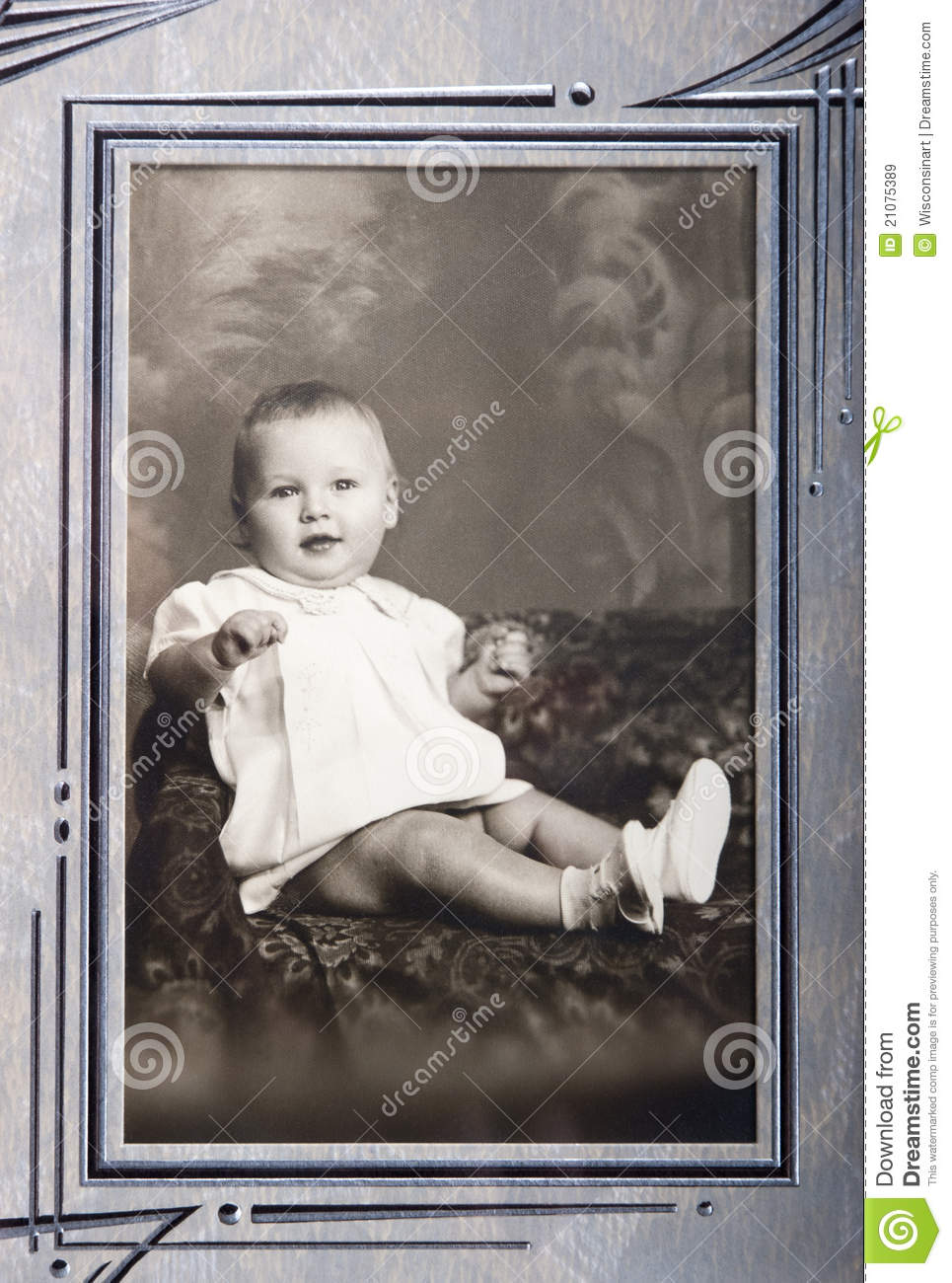 Old vintage photo of young baby girl portrait stock image image of