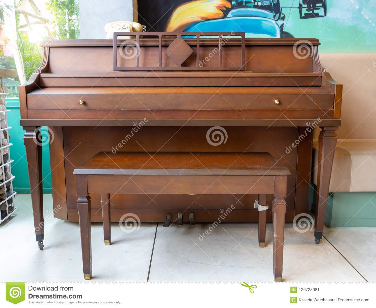 Old vintage piano in cafe for music